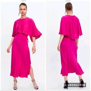 Zara Fuschia pink midi cape dress